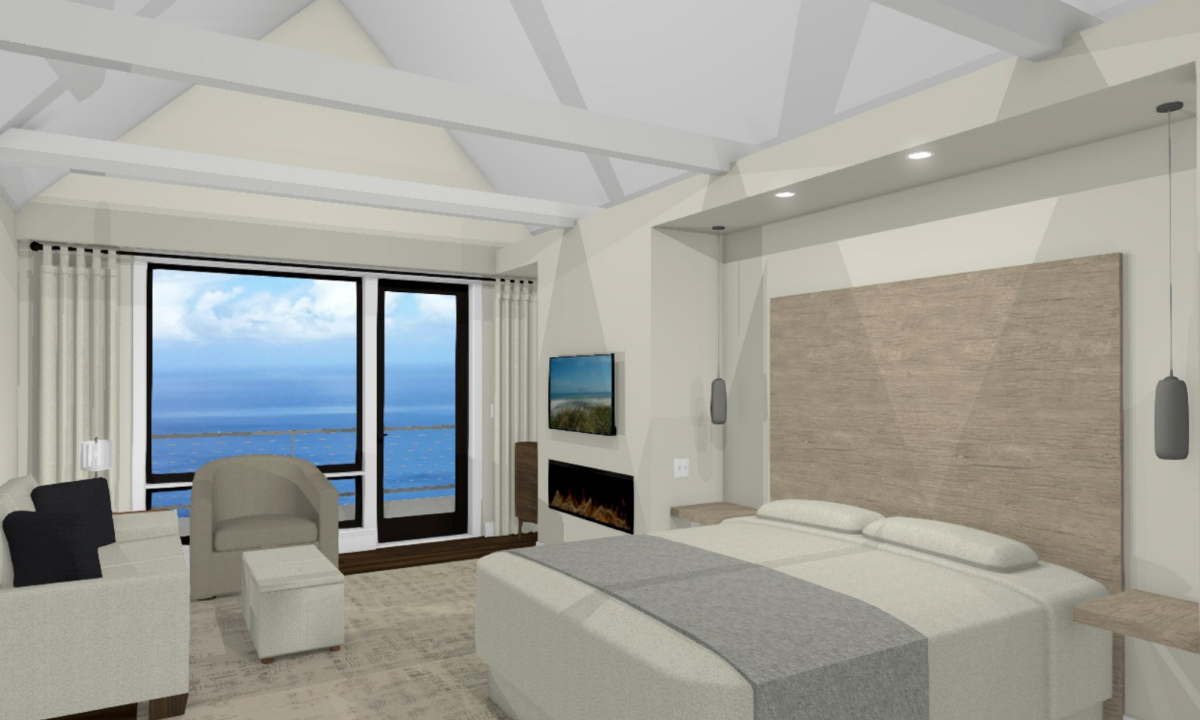 The Water's Edge Alder suite with waterfront view, fireplace and king bed