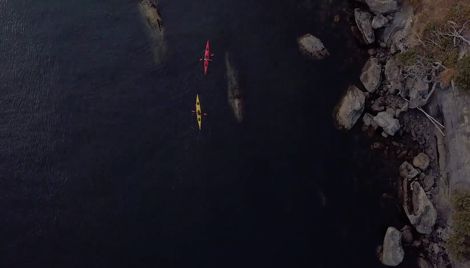 Kayakers from above