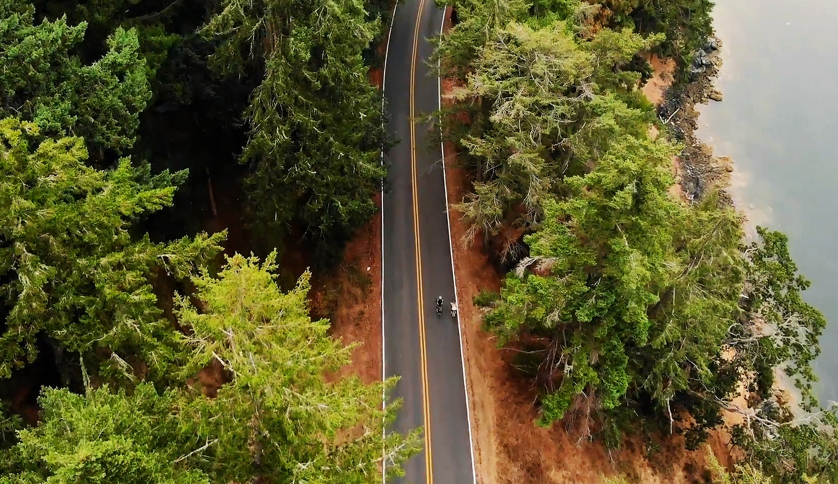 Cyclists from above. Orcas Island is a top destination for bike tours.