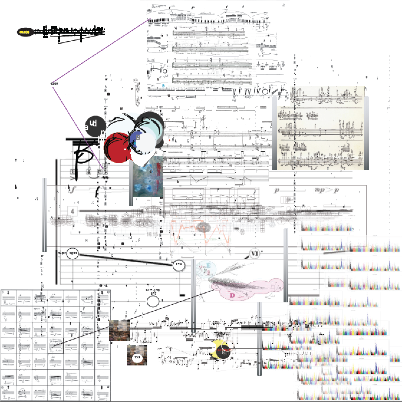 """Single page from the score from  """"Partitions: Cambics Alive in Sensient Amplules"""""""