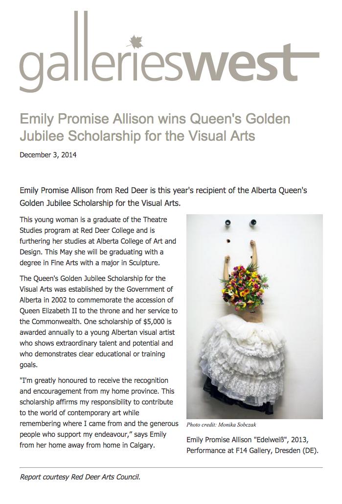 Emily Promise Allison Wins Queen's Golden Jubilee Scholarship for Visual Arts