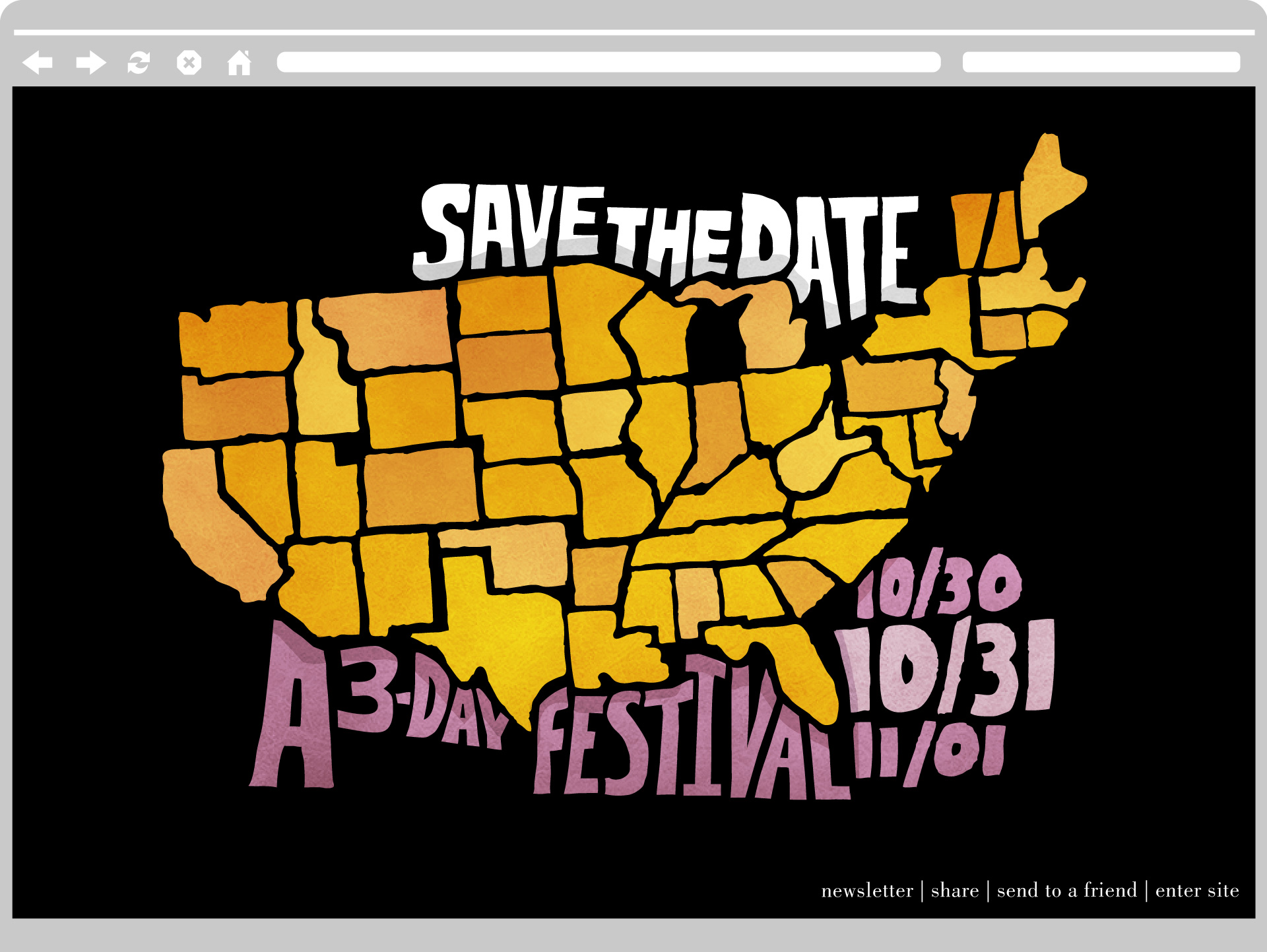 Splash page before any states were removed.