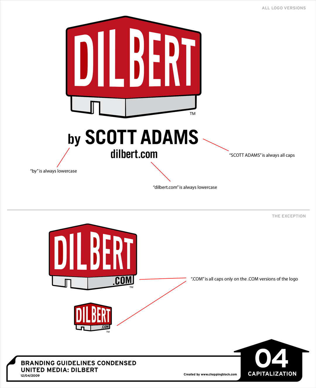 A page from the Dilbert Style Guide on capitalization within the brand.
