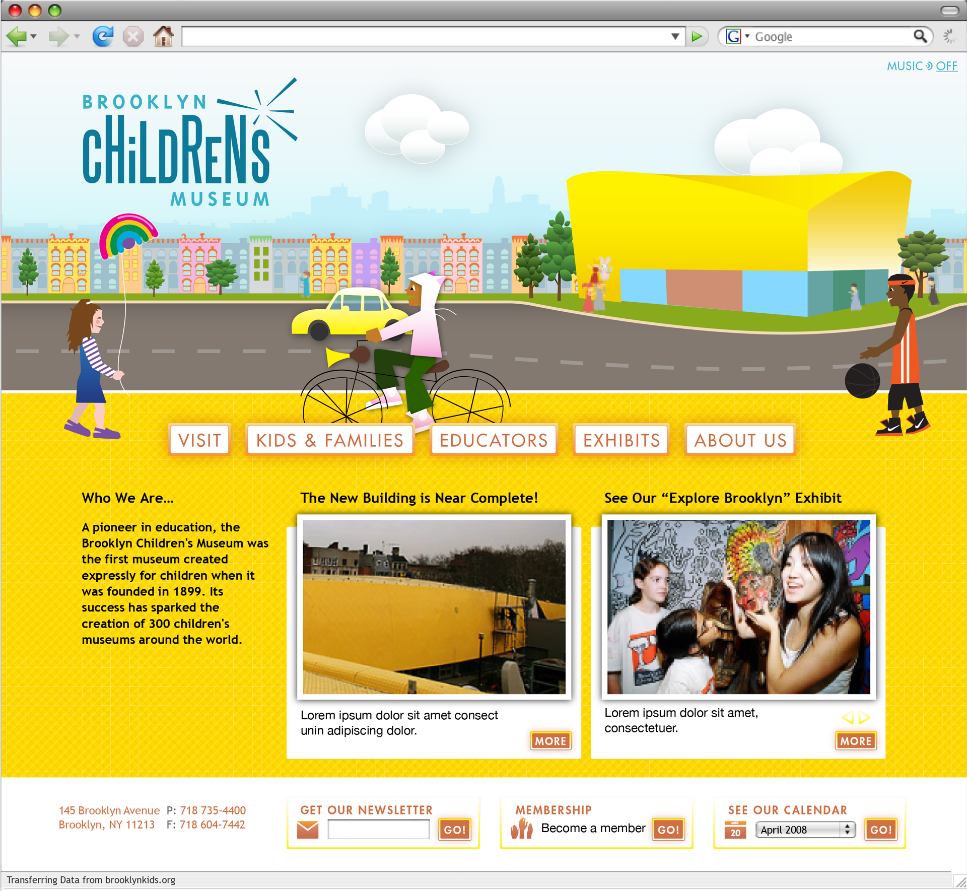 The landing page for Brooklyn Children's Museum animated various children and vehicles passing by. In the distance the foot traffic would enter and leave the museum.
