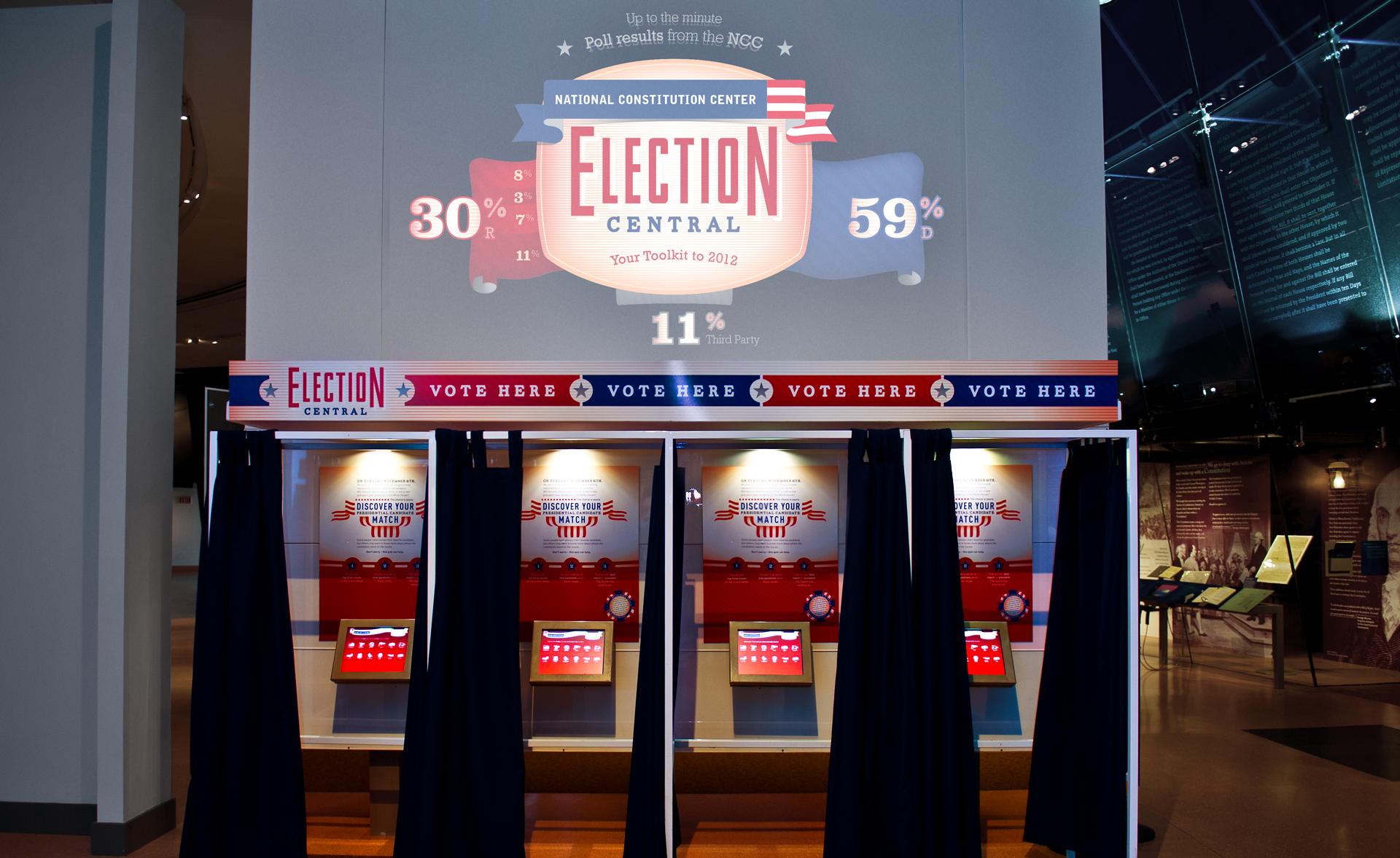 The center projection cycles through random match-ups and displays the results determined by actual votes cast by the Center's visitors..