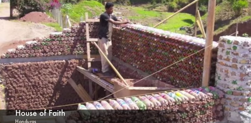 """Plastic water bottle building under construction - from video """"solution plain and simple"""" by      Andreas Froese (below)"""