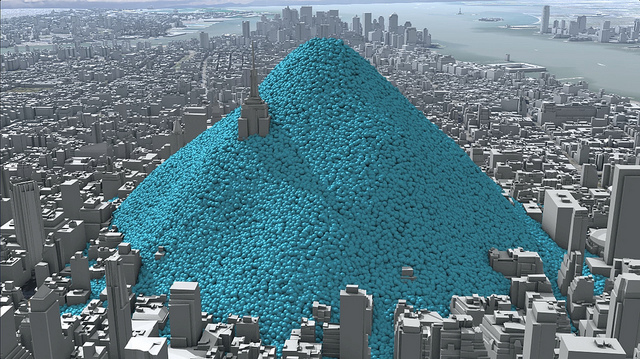 Image: NYC's daily carbon emissions as one tonne spheres. Credit: Creative Commons https://www.flickr.com/photos/carbonquilt/
