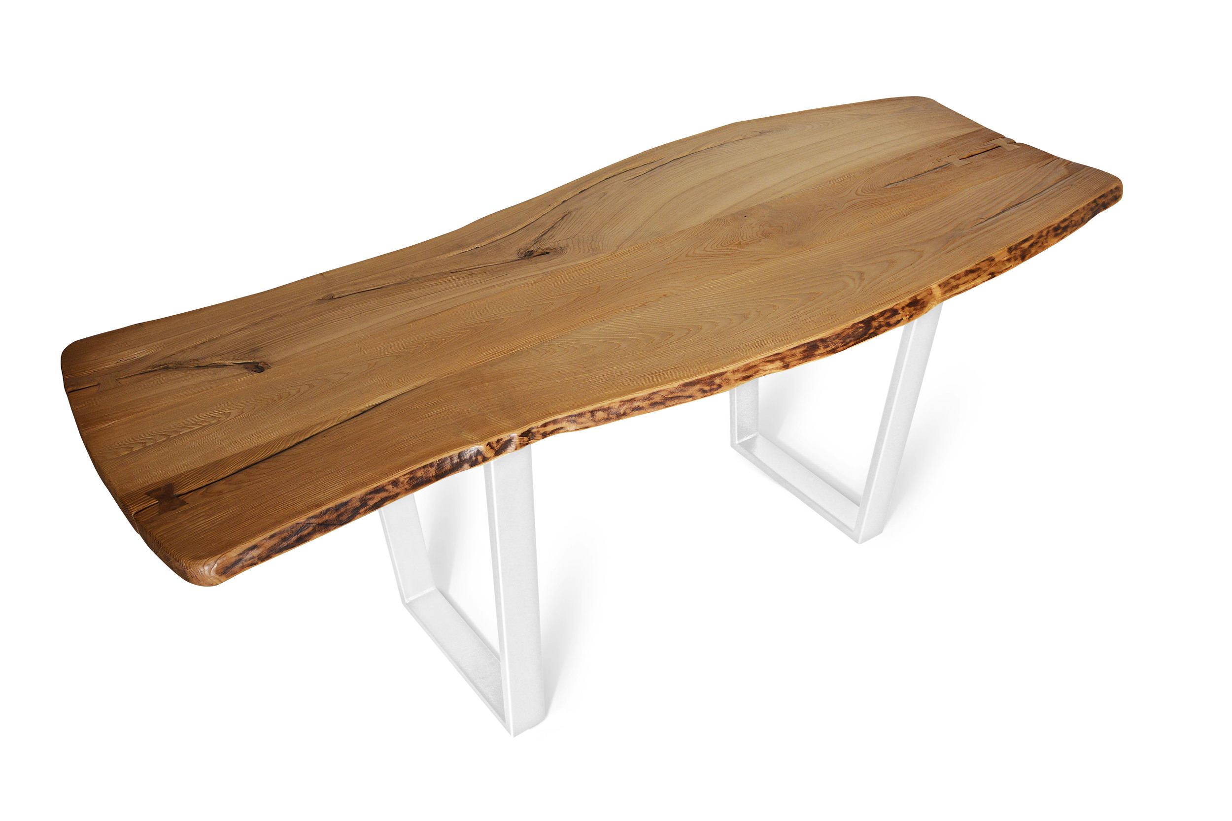 Etz & Steel Chardonnay Live Edge Table Pearl Sparkle White Base 1.jpg