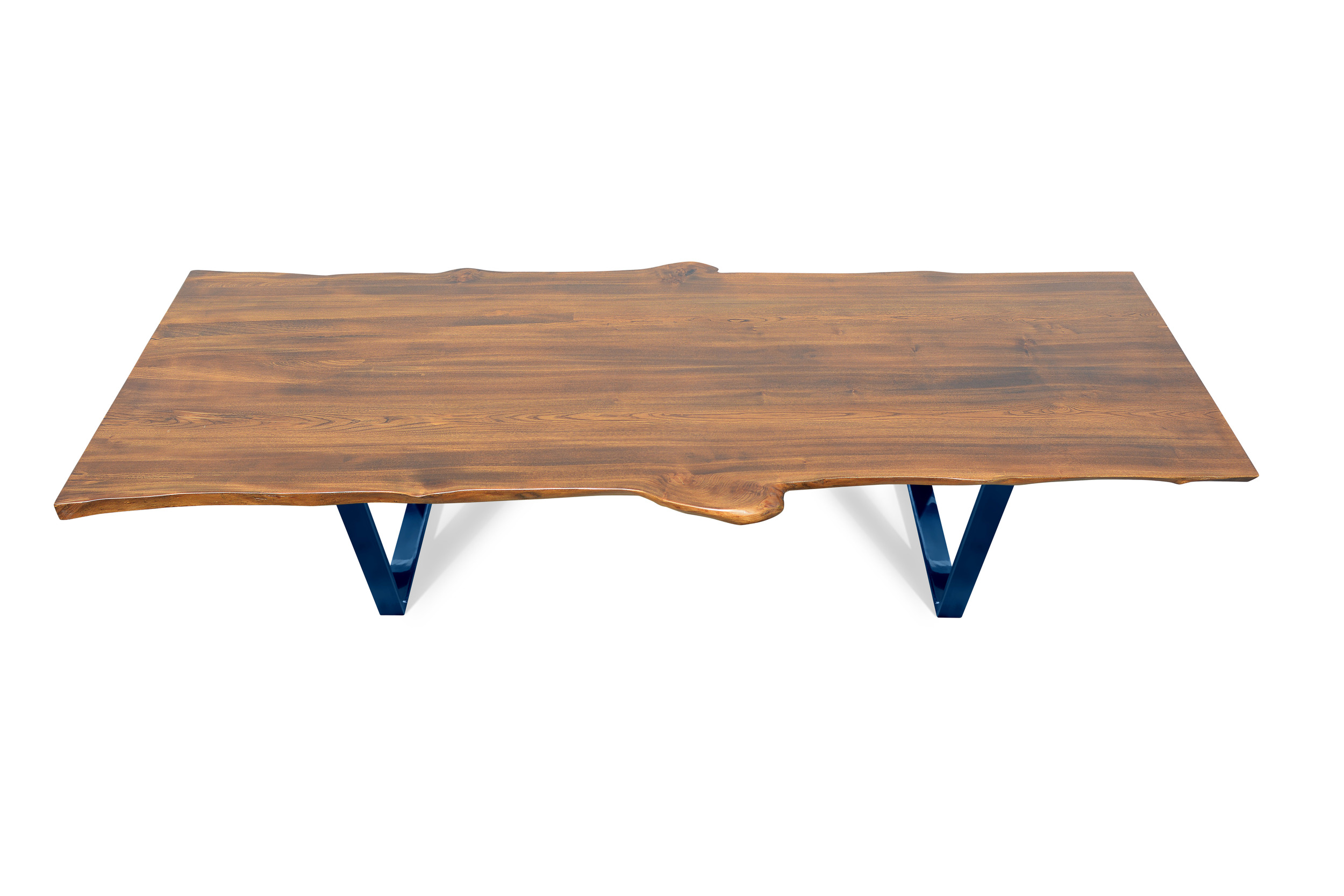 Etz & Steel Live Edge Cognac Table Midnight Navy Blue Base 1.jpg