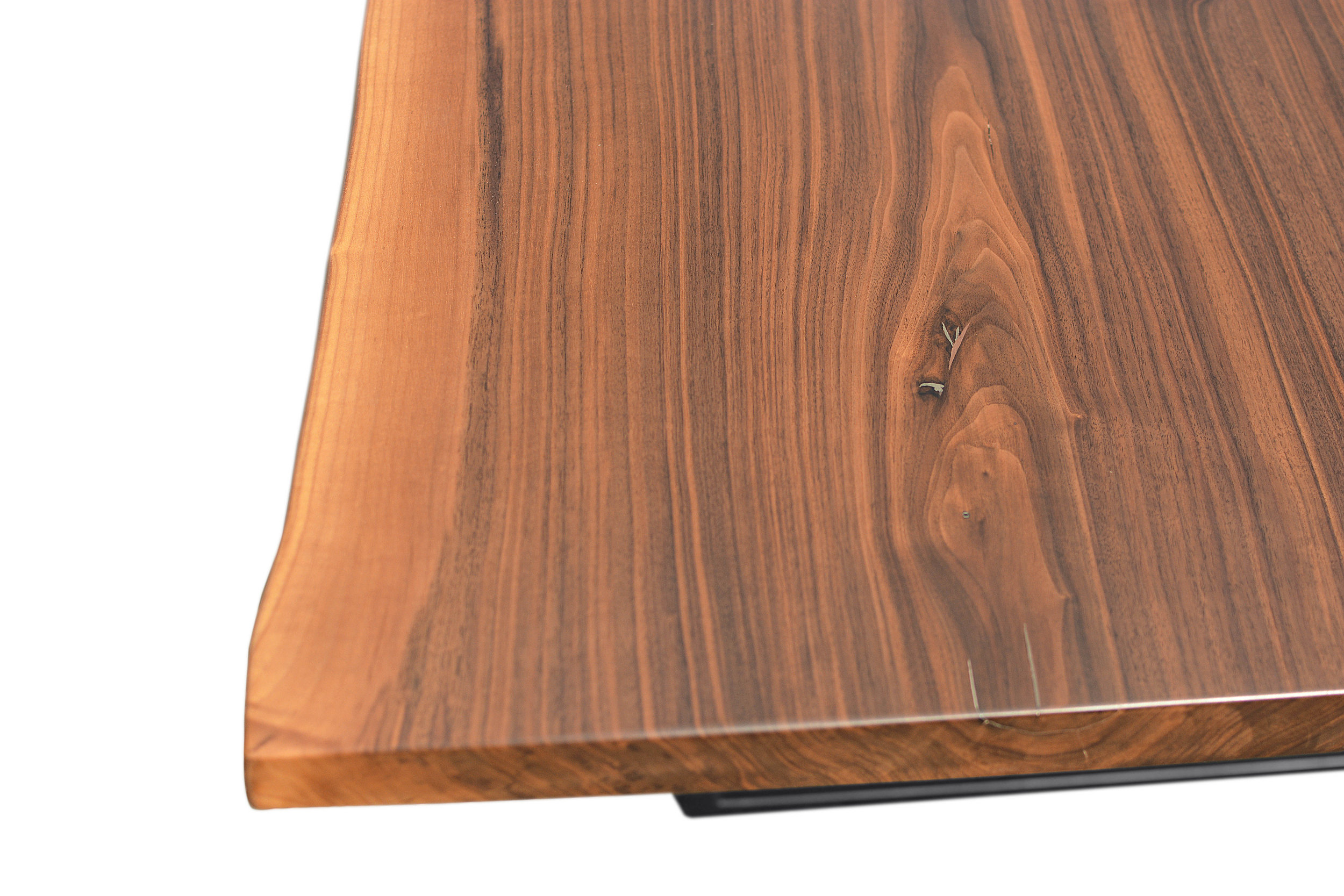 Etz & Steel Hermes Live Edge Walnut Table Close Up 7.JPG