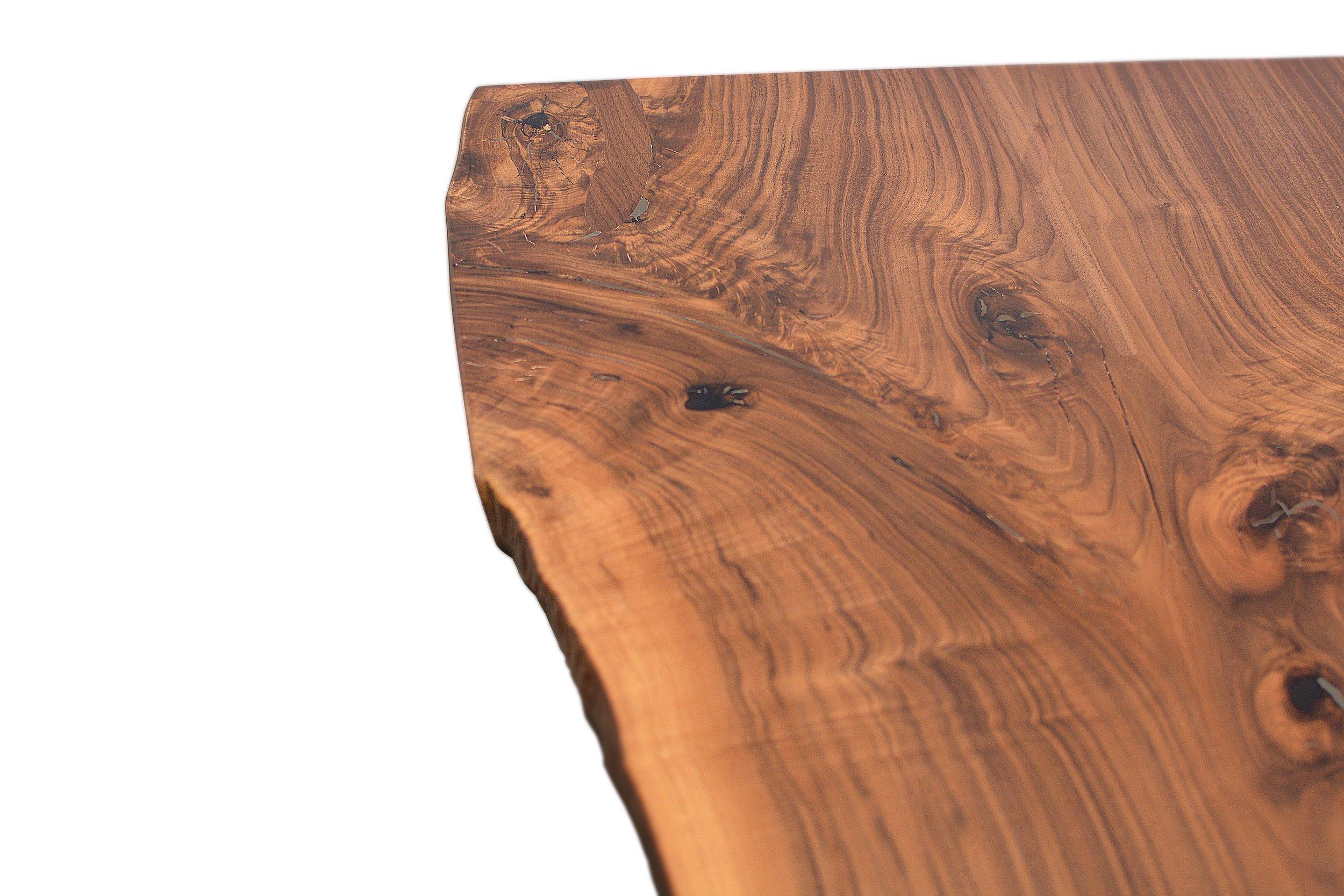 Etz & Steel Hermes Live Edge Walnut Table Close Up 8.JPG