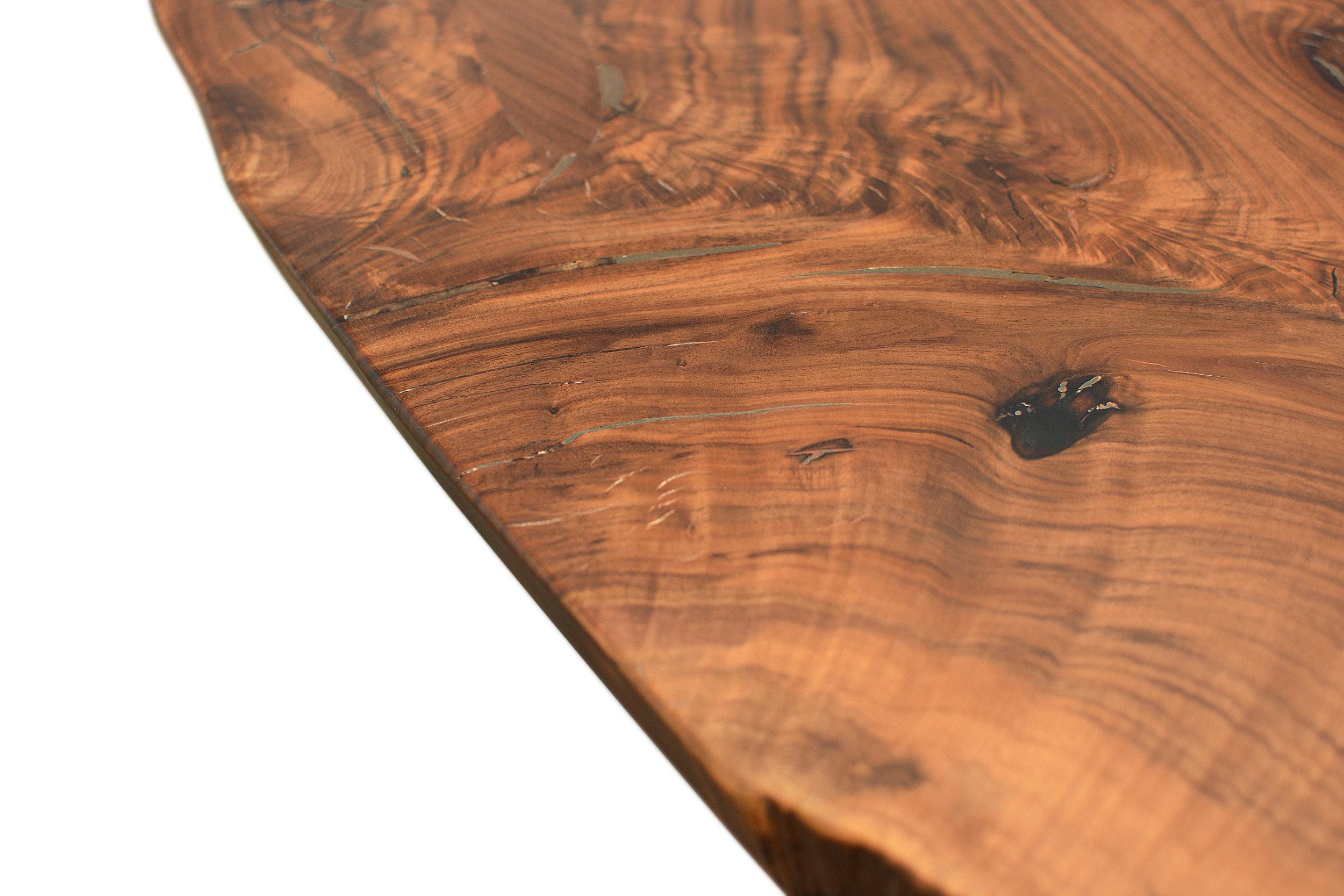 Etz & Steel Hermes Live Edge Walnut Table Close Up 11.JPG