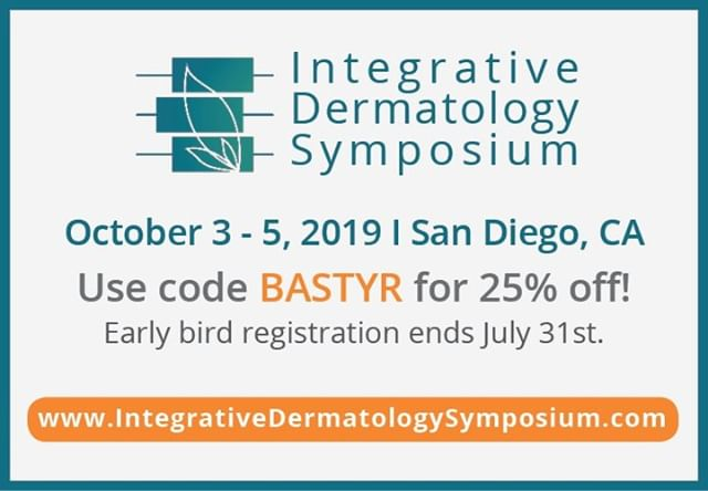 I'm excited to attend the @IntDermSymposium this October 3-5 in San Diego, CA! Code BASTYR is 25% off early bird before July 31st. integrativedermatologysymposium.com/  #IDS2019 #IntegrativeMedicine #Dermatology