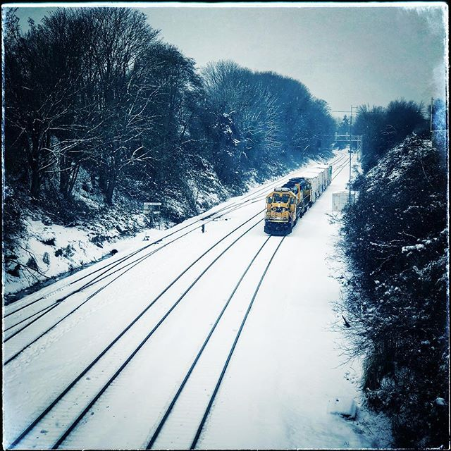 Fresh snow on the tracks- walked to the studio for some exercise... #snowday #snow #seattle #trains
