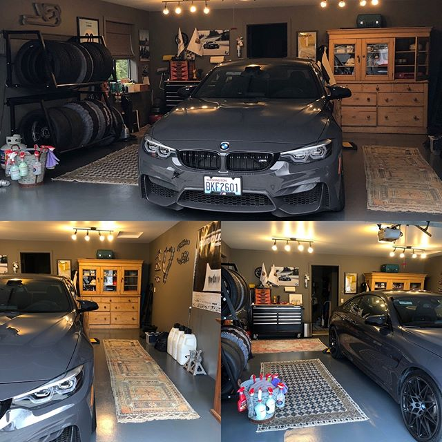 This was the week my garage finally became the room it was meant to be! Floors painted- Rugs from Turkey arrived (very vintage) A big antique Dutch pine (found at a #roomtomove estate sale three weeks ago)- I still will stencil the floors this summer ...but currently Wilhelmina is a happy girl... #decor #design #bmw #m4 #antiques #vintage #garage #luxurylifestyle #lucky