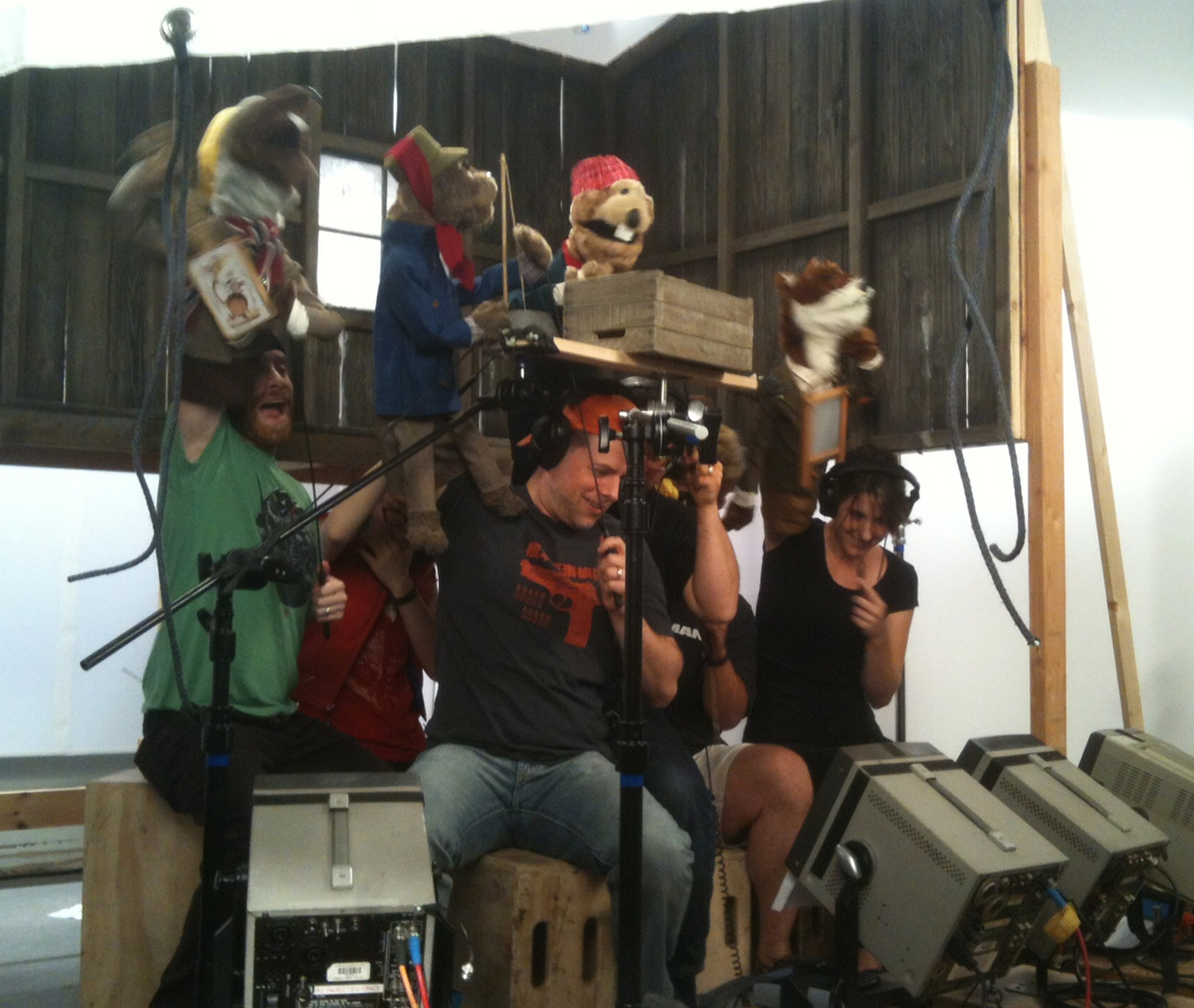 Behind the scenes: puppeteering for the  Robot Chicken  2013 Christmas special.