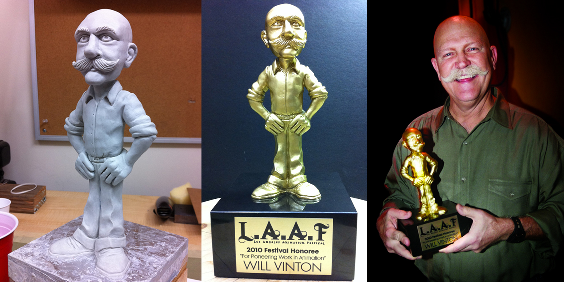 Had the honor of sculpting this personal achievement award, presented to Will Vinton at the 2010 Los Angeles Animation Festival.