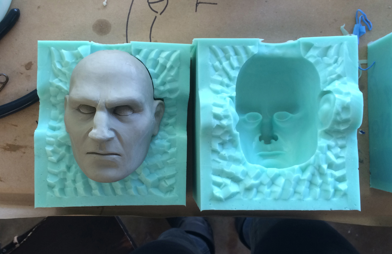 Liam Neeson mold with urethane cast