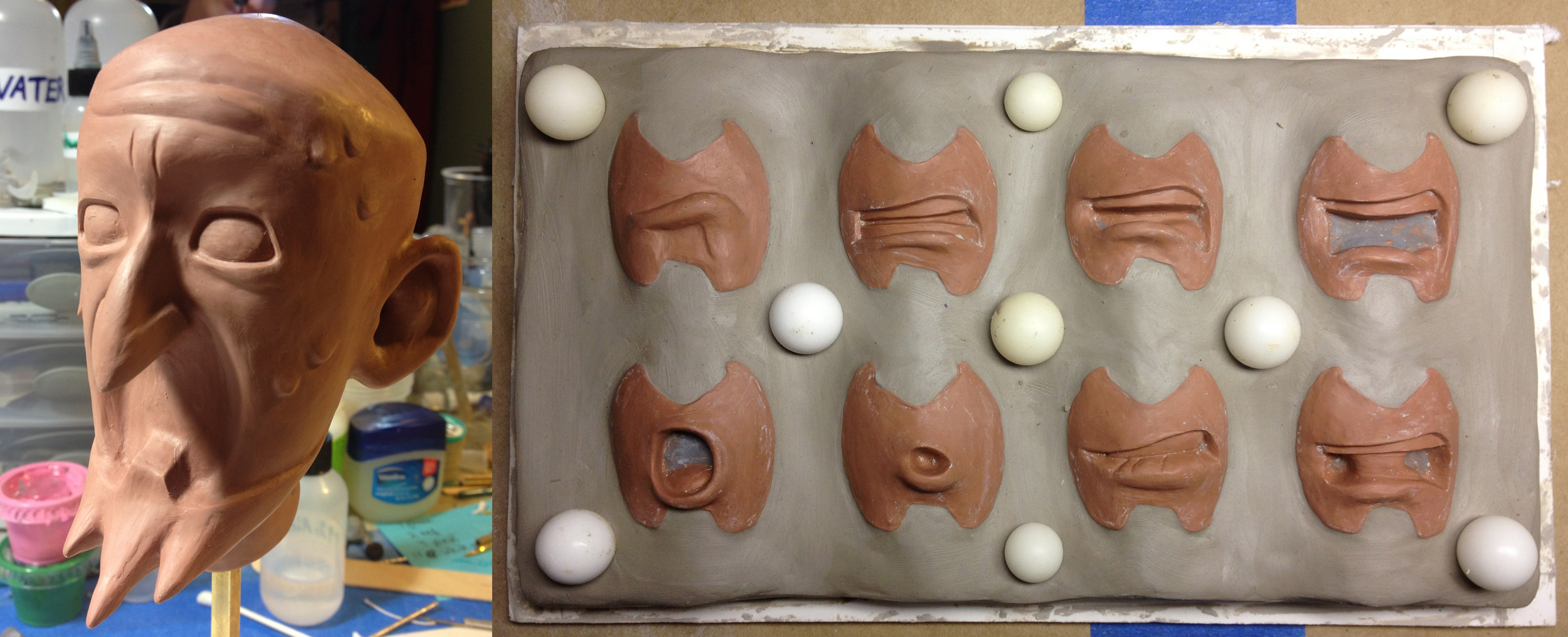 """Dr. Venture head sculpt and  replacement mouths being prepared for mold.  The Venture Bros.  season 5 episode 4, """"Spanakopita."""" Stoopid Buddy Stoodios, 2013"""