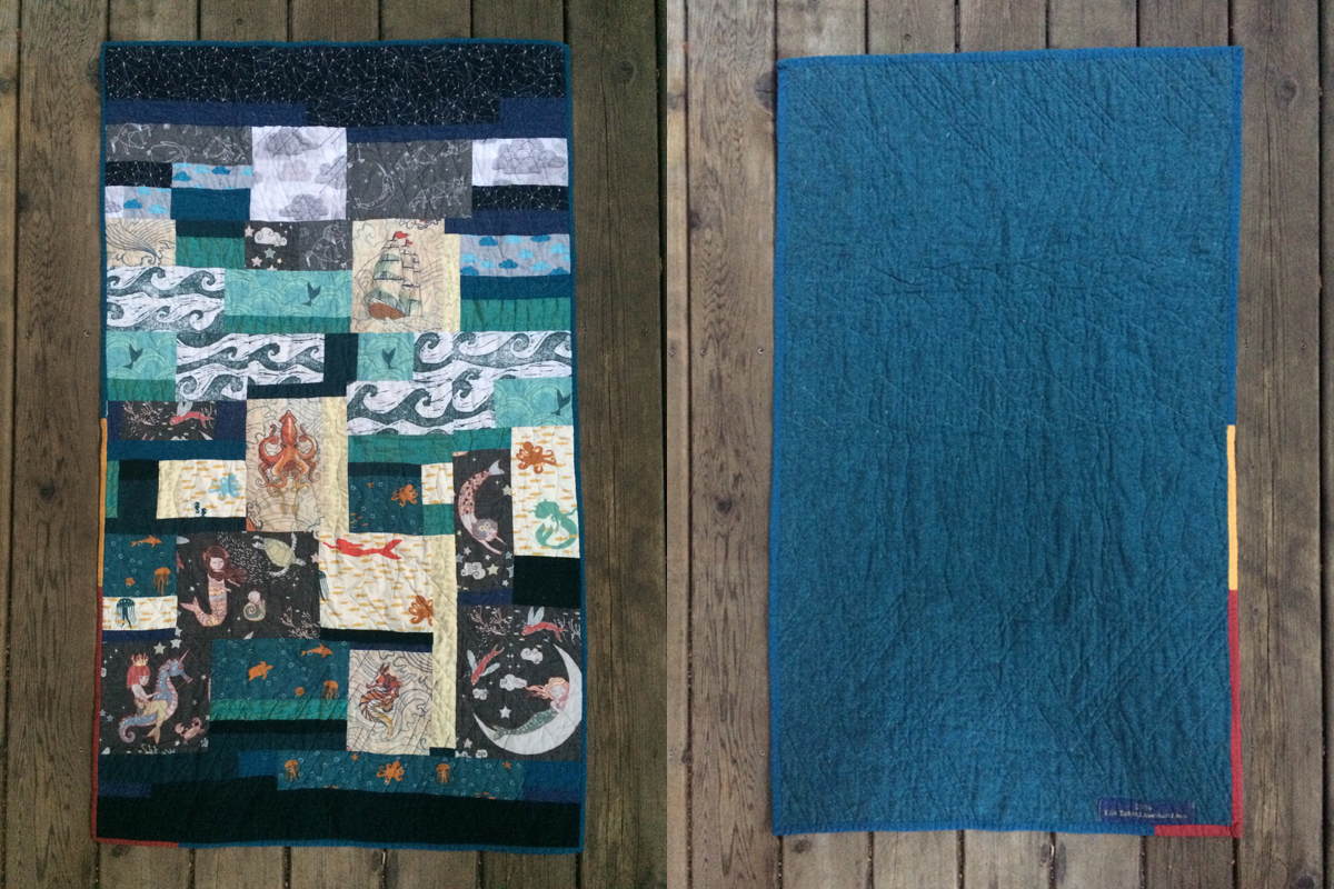 Baby Quilt for my nephew. Sea & Sky theme for my little Aquarius man.