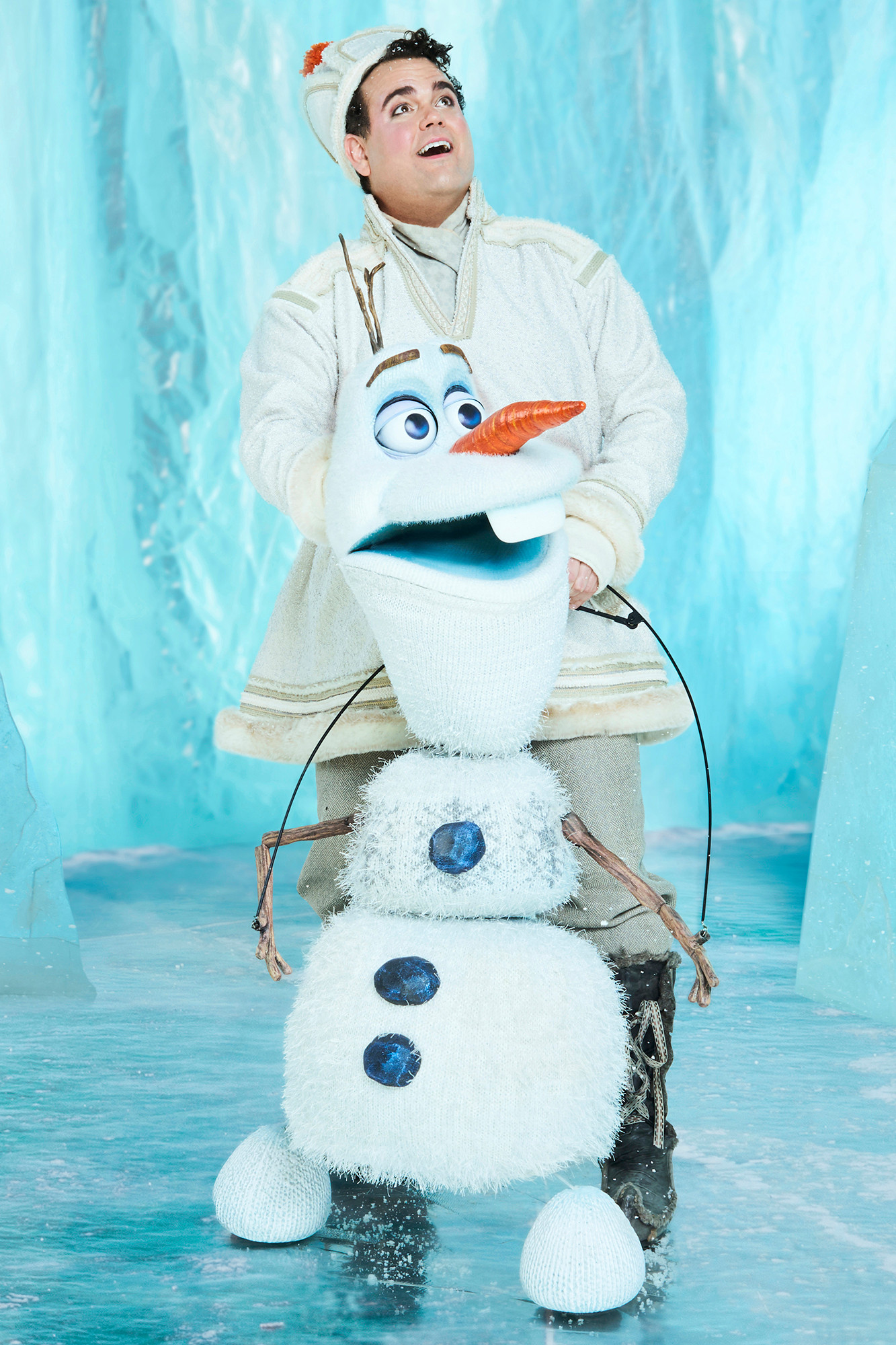 """Greg Hildreth gives voice and movement to Olaf, the puppet he calls 'my new best friend.'"" Credit: Michael Reidel/The New York Post, Entertainment."