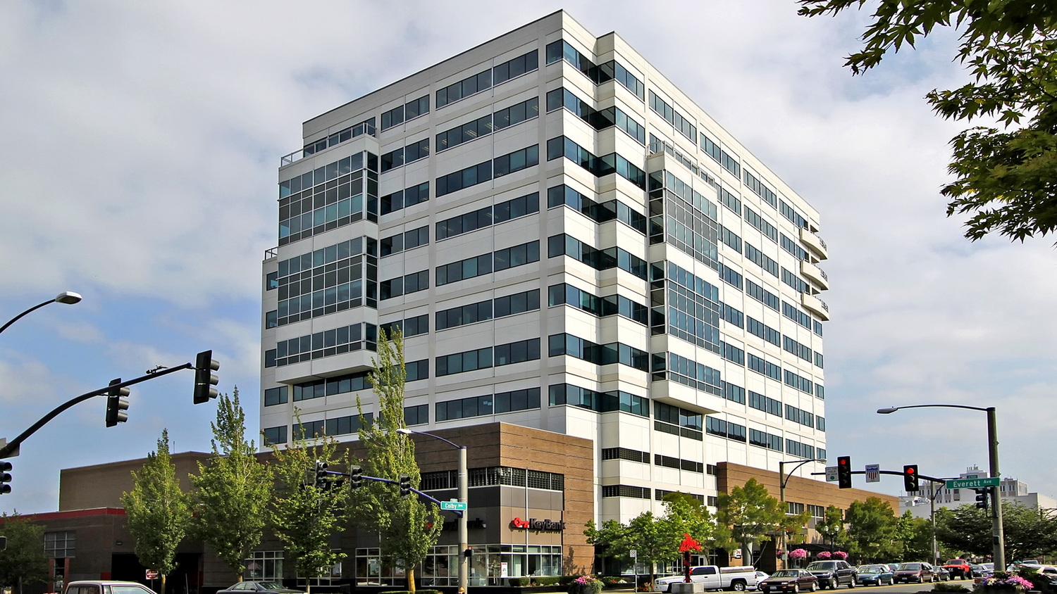 Key Bank Tower.    Address : 2707 Colby Ave.  Details : Located directly in the downtown financial district. Featuring sweeping views of the Cascade mountains and the Puget Sound. Cafe and Salon on-site.  Managed by : Skotdal Real Estate.  Phone : 425.252.5400.