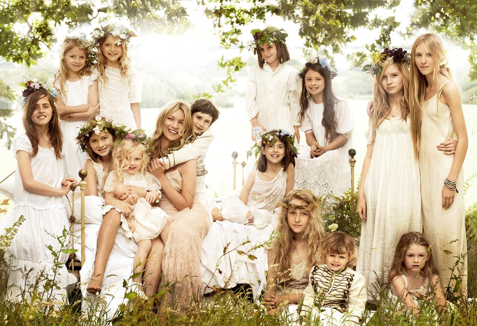 Kate Moss with the children in her wedding party: Mario Testinofor Vouge