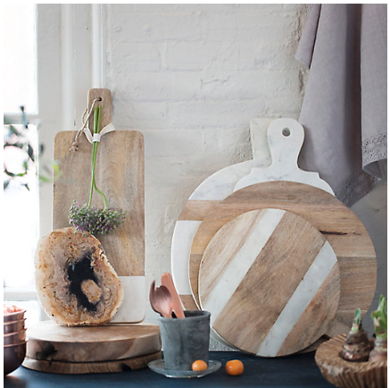Love these serving boards of marble and wood from   Terrain  .