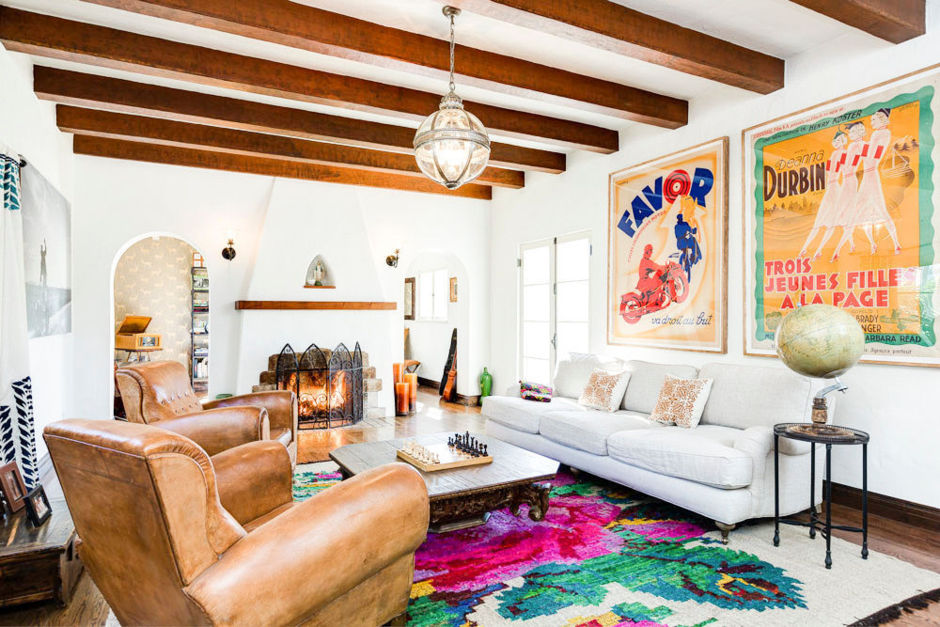 A warm, inviting, eclectic and playful living room.