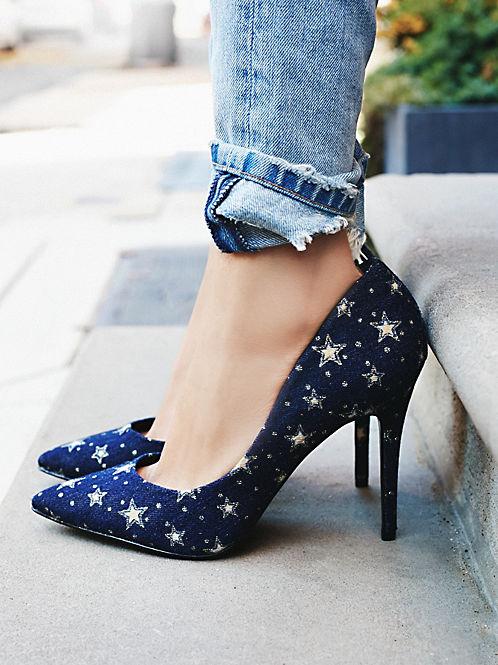Oh! Hello cute denim star heels! -   Free People