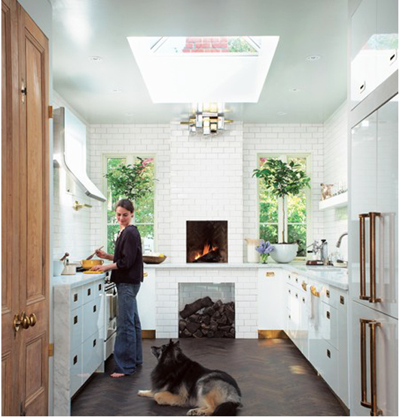 My Inspo for everything!  That fireplace, skylight, dog, brass...all of it!