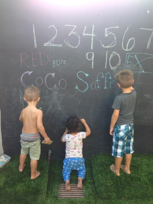 TWH bunnies at our own chalkboard wall