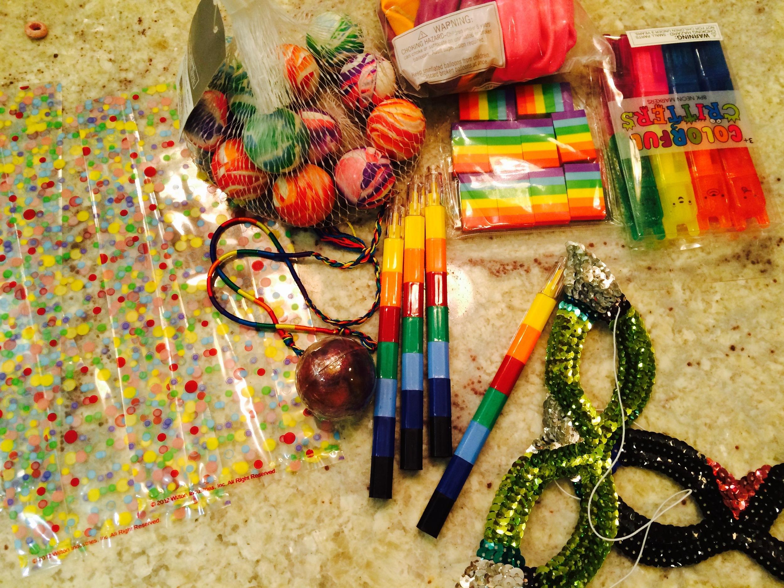 Creating a rainbow gift bag