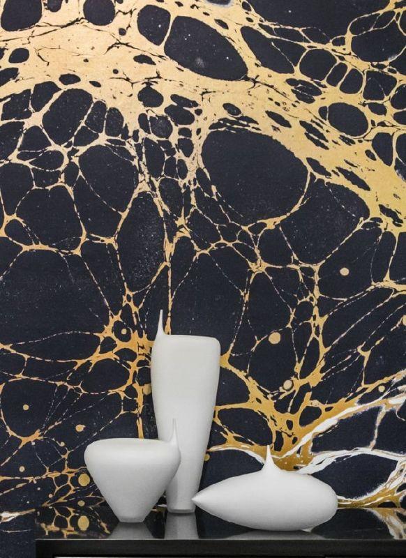 Calico Wallpaper in  Night Slate