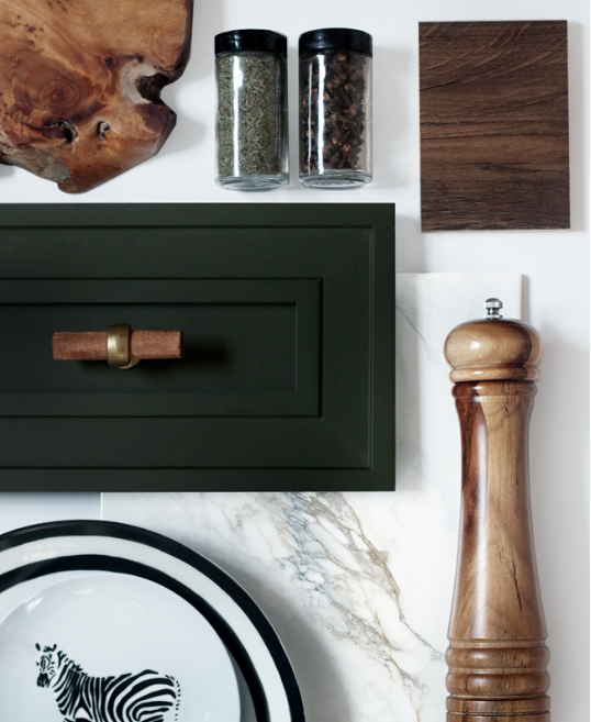 Hunted Interior created her own green to paint her cabinets and it's perfection.