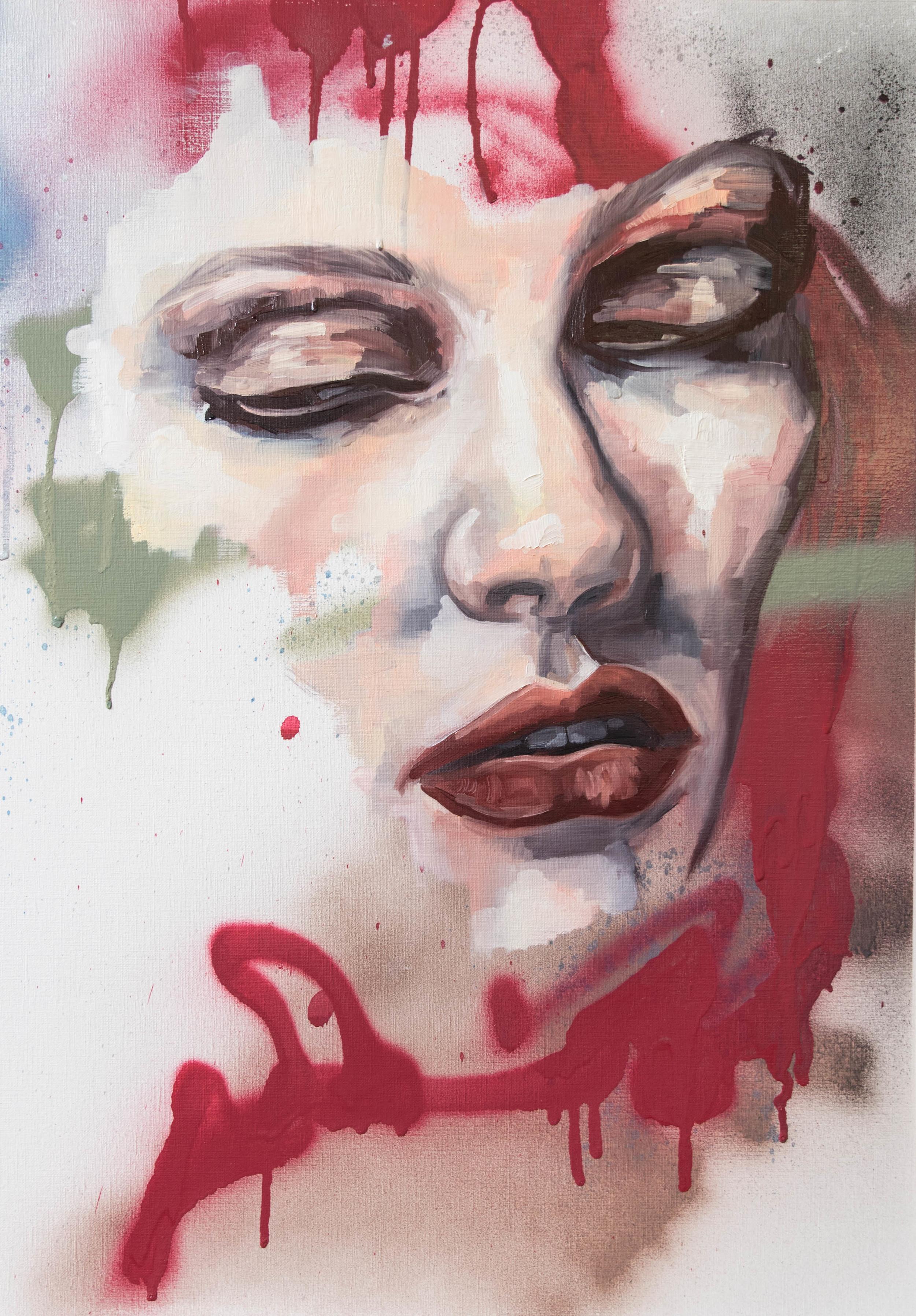 Aesthetics, oil, spray enamel and resin on canvas, 76 x 58 cm