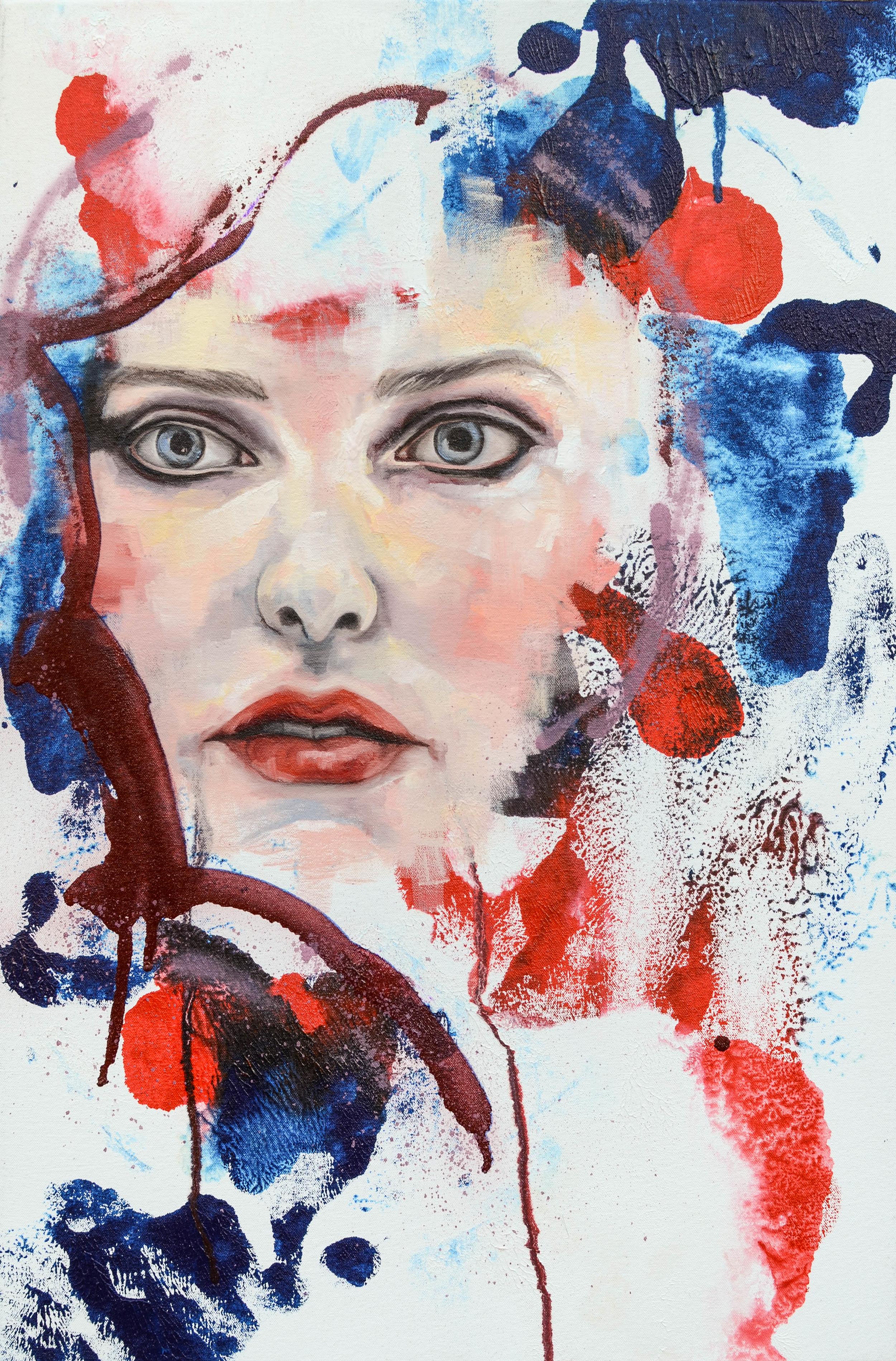 Dreamer, oil and spray enamel on canvas, 76 x 50cm