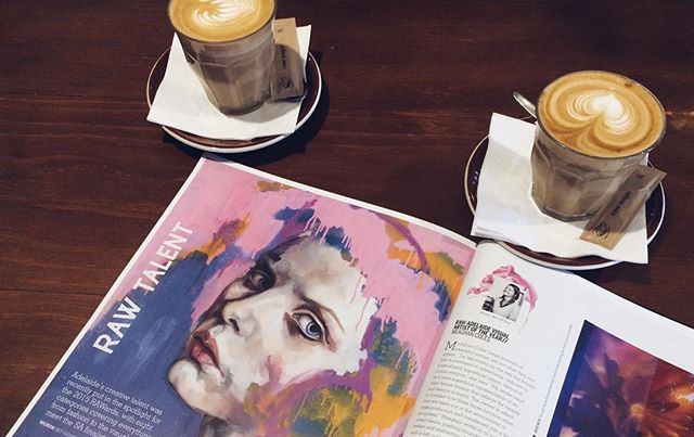So for me to actually have a productive day/ get through the afternoon you'll find me sipping a double shot latte ☕️ I'm lucky to have so many awesome cafes nearby I can sit and people watch ... and spot my artwork in a local magazine 😜 . . Where is your go to coffee spot? . .  @meaghan_coles_artist #insta180 #theinstagramplan  #meaghancoles  #adelaideartist #visualartist #painter #oils #mixedmedia #paintedfaces #beauty #studio #sketchbook #model #portraiture #interiordesign #colourful #contemporary #oilpainting #gallery #artwork #mixedmediapainting #resinartwork #watercolour #doitfortheprocess