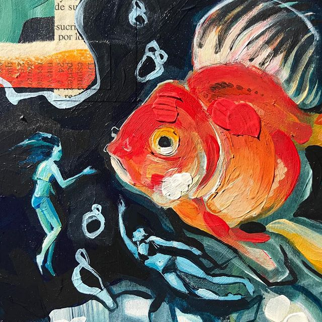New painting in the works. Did I mention I am now in love with painting on panel?! #art #wip #goldfish