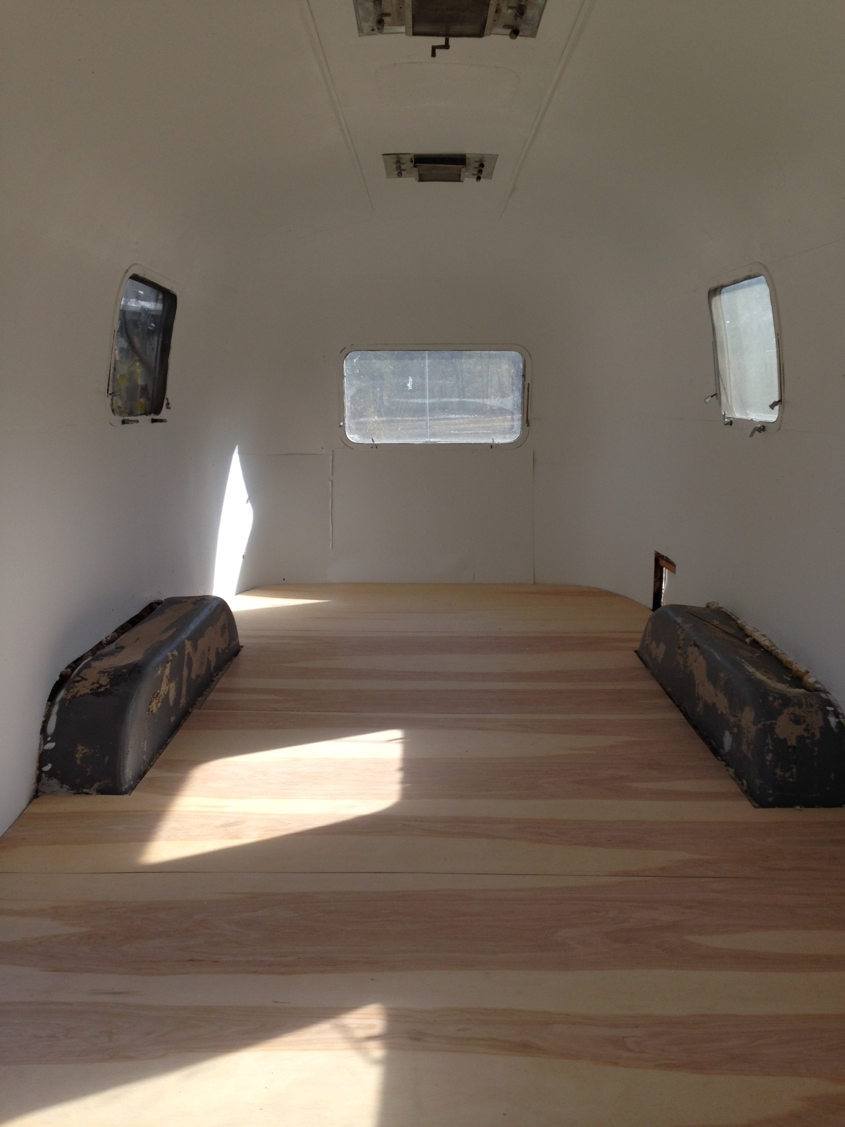 Airstream Painted with Birch Plywood Flooring