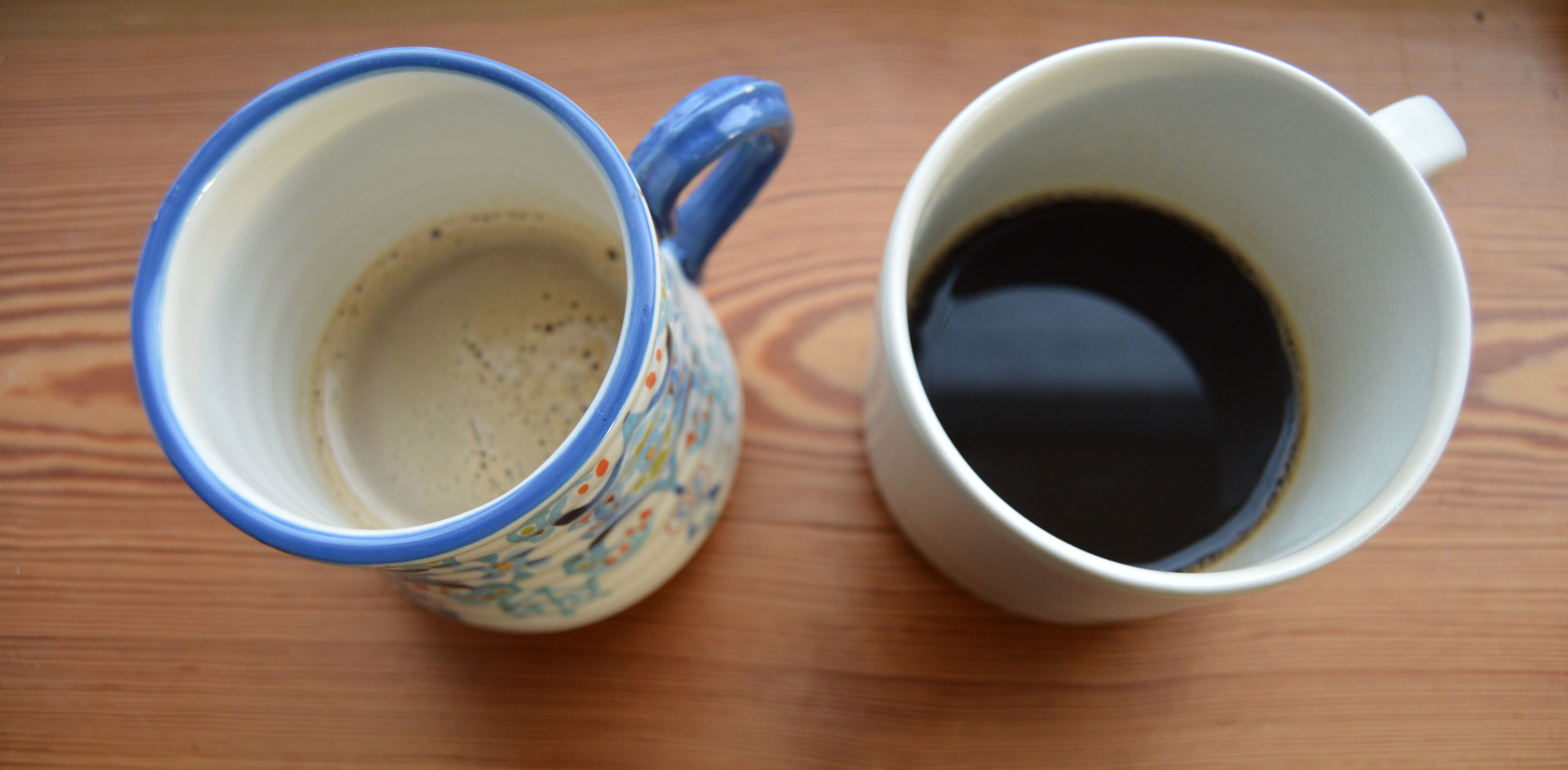 Madison on the left (a little cream with her espresso) Mark on the right (simple and bold).