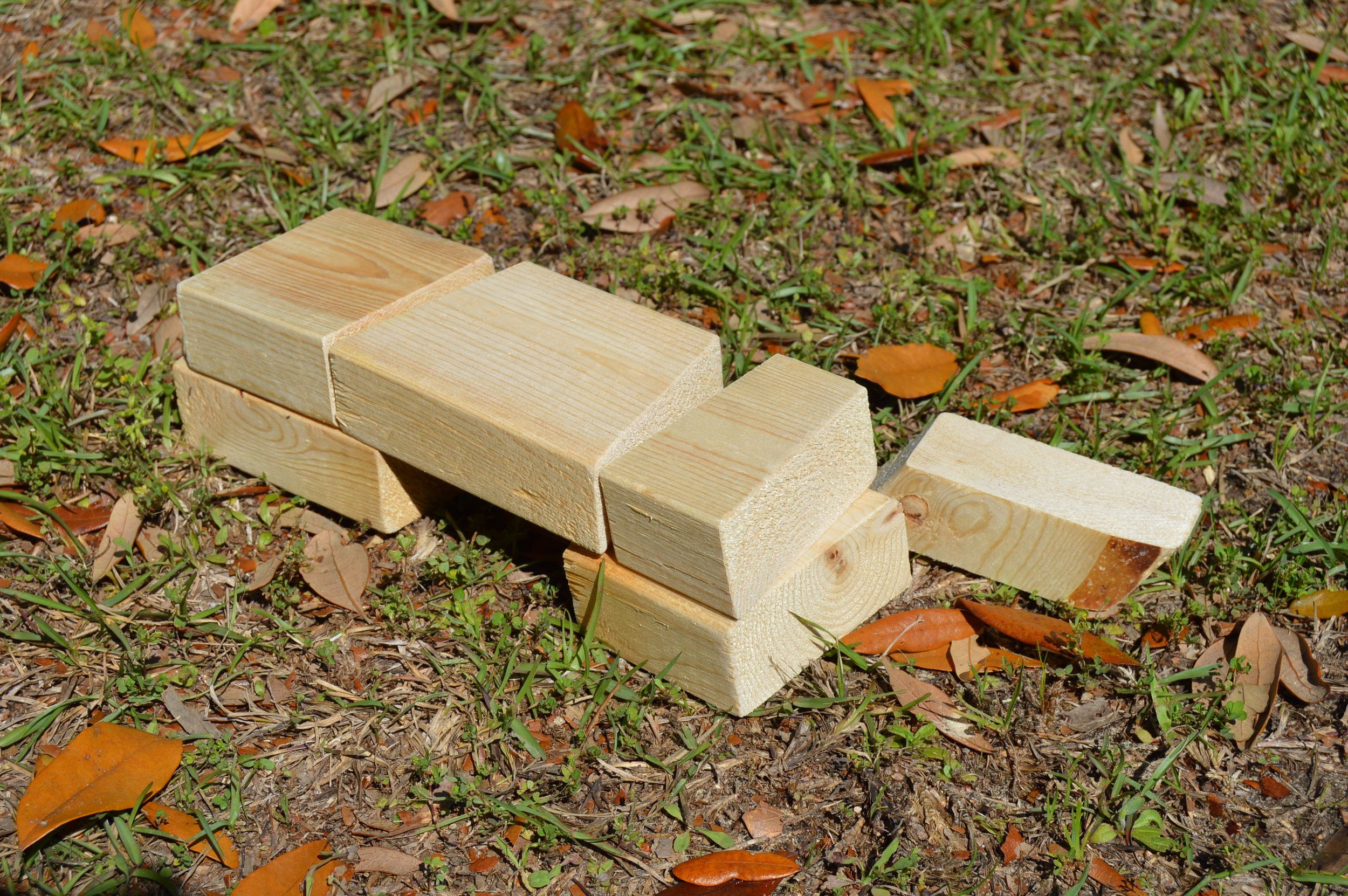 These little wood blocks travel in the trunk of our car (you never know when you might need them).