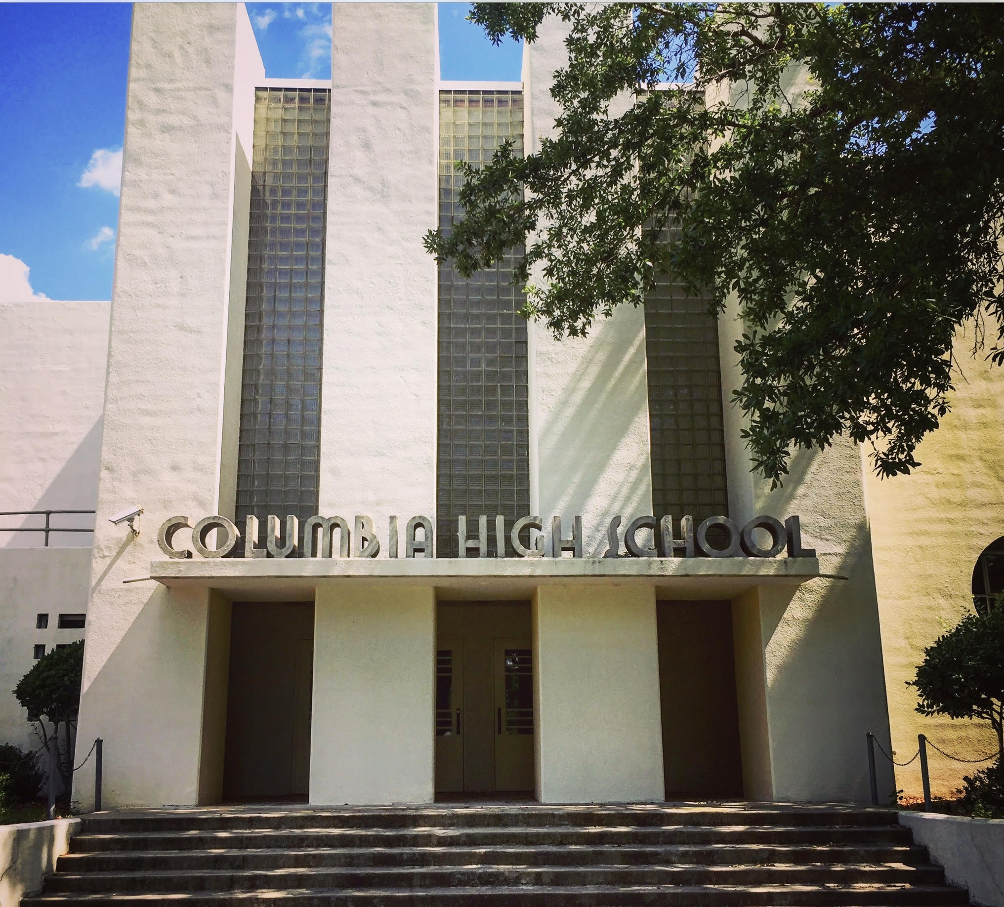 Columbia High School, Columbia, MS - My mother's high school. Great example of, what I think of, 30s moderne. Even the entrance direction arrows are rendered in terrazzo. photo: Keith Wooten