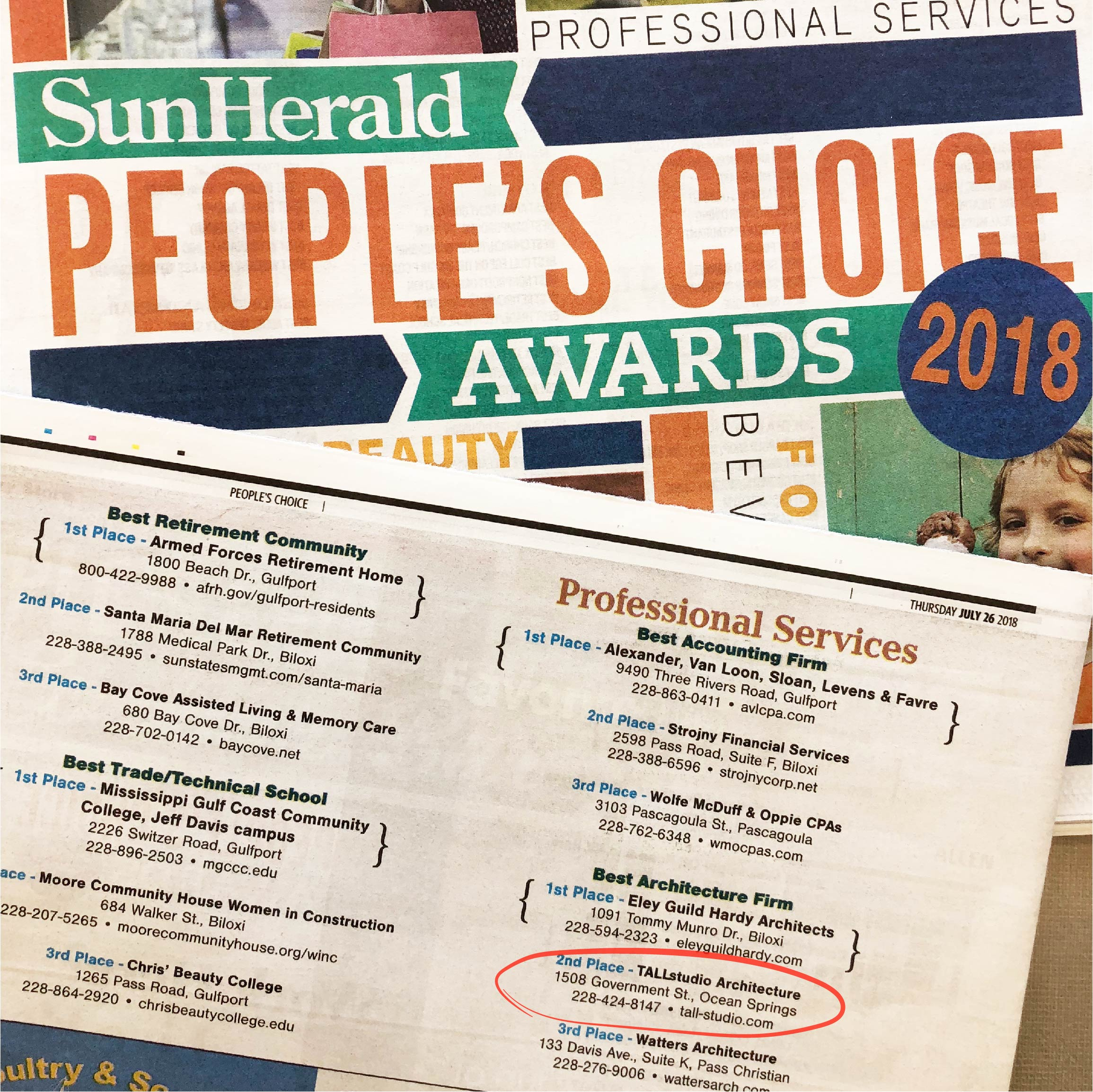 "Tall Architects places second for ""Best Architecture Firm"" in the Sun Herald's People's Choice Awards 2018!"