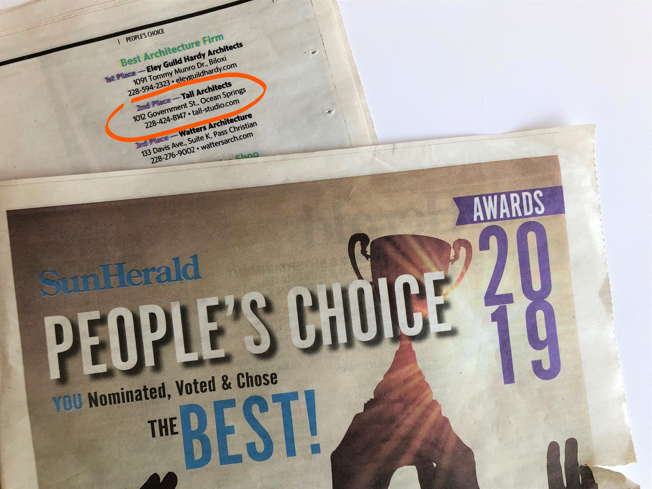 "Tall Architects places second for ""Best Architecture Firm"" in the Sun Herald's People's Choice Awards 2019!"