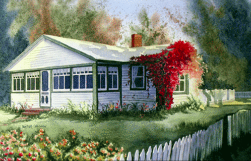Painting of our Spruce Cottage by Heather Hannon