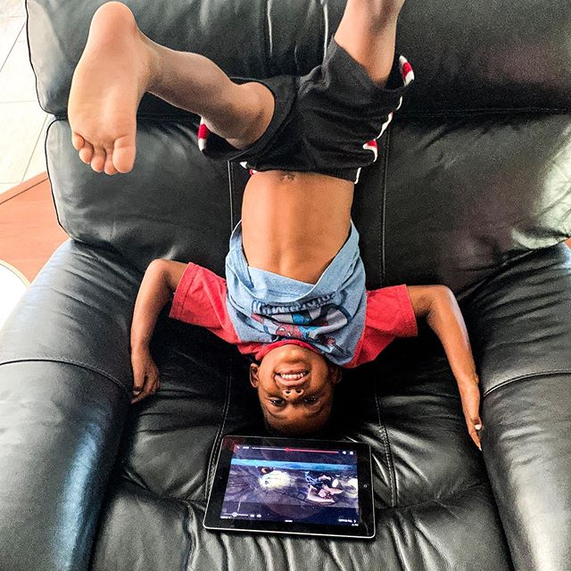When you just need your son to CALM.DOWN for a few minutes so you give him the iPad, but even that is a full contact sport.  #boymomlife #boymom #motherhood #kendrickdjames