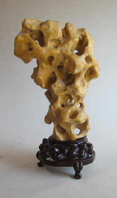 Enhanced yellow Taihu stone, wood