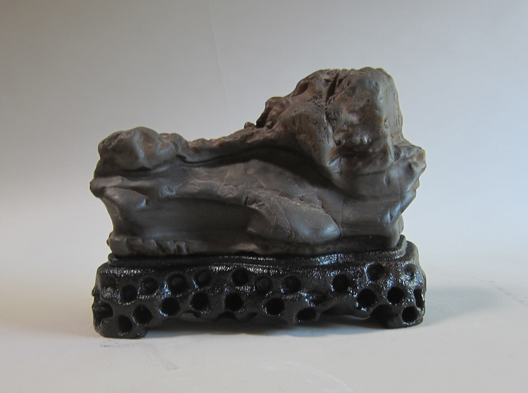 Chinese river stone, wood, resin