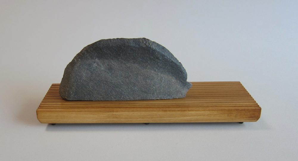 Basalt, wood, painted aluminum